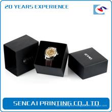 Alta calidad de lujo que sella la caja negra del reloj del logotipo con la manga