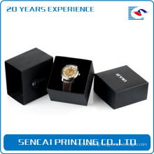 Luxury high quality stamping sliver logo black watch box with sleeve