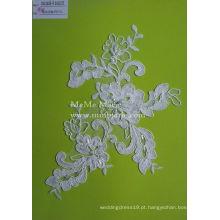 Tecido de renda de cordão branco com pérolas Tecido de renda de Tulle para vestido de casamento nupcial CMC382B-R