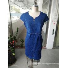 Vestido simple de manga corta de mezclilla de verano para mujer