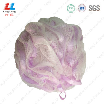 Ribbon sightly mesh bath sponge