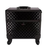 Rodas de alumínio do caso cosmético preto da beleza da caixa