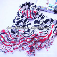 Acrylic viscose striped import scarf with tassels