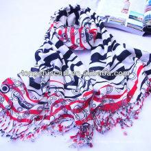 Акрил вискоза импорт полосатый шарф с кистями