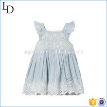 Blue Eyelet dentelle t-shirt robe en gros bébé filles robe de princesse design