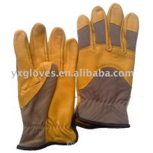 Yellow Leather Glove-Grain Leather Glove-Industrial Glove-Work Glove-Gloves