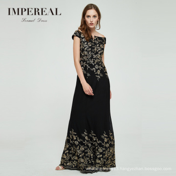 Newest design embroidered bodycon off-shoulder long evening dress