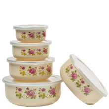 Round Bottom 5PCS Set Enamel Storage Bowl 10-18cm