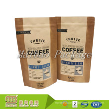 Wholesale High Quality Custom Printed Resealable Zipper Craft Paper Aluminium Foil Lined 12oz Coffee Bag With Valve