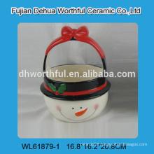 2016 christmas snowman shaped ceramic handle basket