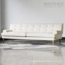 Sofá de tapicería para uso profesional Sofá de estilo clásico de madera