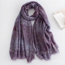 Женская мода цветочные печати с длинным вискоза Шелковый шарф (YKY1135)