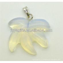 Pendentif en feuille d'érable opale naturelle AAA pour collier