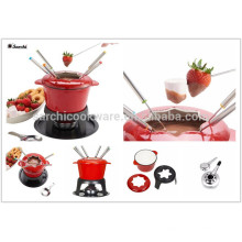 non-stick cast iron ename lfondue set milting pot