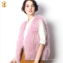 Vente en gros Robe de peau en peau de mouton Rose