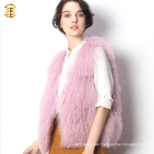 Wholesale Pink Tibet Lamb Sheepskin Fur Soft Hair Fur Vest