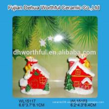 2016 decoración de Navidad polyresin, pueblo de Navidad polyresin con estatuilla de mono polyresin