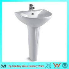 Bacia de lavagem de mão cerâmica com venda a quente com pedestal