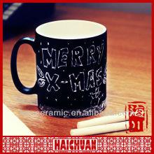 Taza de cerámica con pizarra, taza de pizarra, taza con tiza
