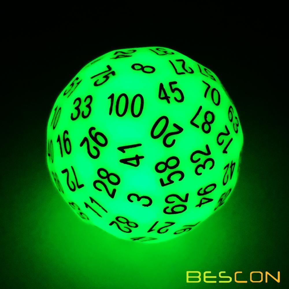 Bescon Super Jade Glow in Dark Polyhedral Dice 100 Sides