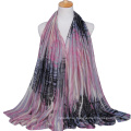 Wholesale price fashionable camouflage color stripe printed voile shawl scarf