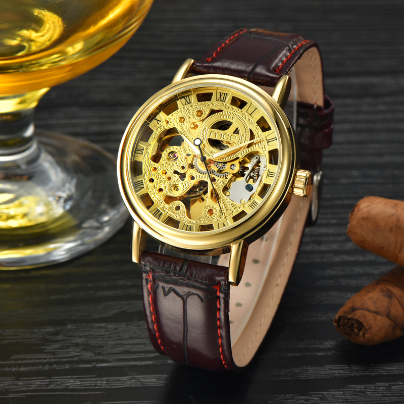gold plated cheap parts mechanical wrist watch