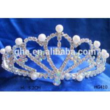 Tiaras de la corona de la tiara del bebé tiaras de la perla exhibición de la tiara perla coronas de la corona de la boda