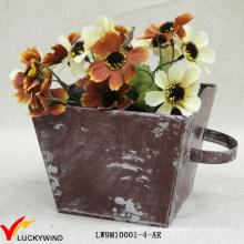 Atacado Distressed Colored Box Decorativas pequenas Metal plantadores