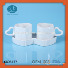porcelain couple tea cups with saucers,new style heart shape cup and saucer,heart shape espresso cup