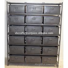 Armário de gaveta industrial de metal vintage