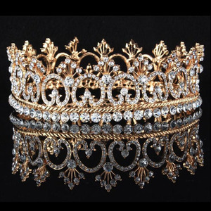 Full Round Crystal Pageant Princess Crowns In Rose Gold Plated