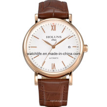 Automático de acero inoxidable moda hombres de negocios reloj de pulsera
