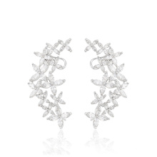 28605 Xuping fashion flower multi stone silver jewelry women boho earring clip earrings