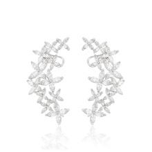 28605 Xuping moda flor multi pedra jóias de prata mulheres boho brinco clipe brincos