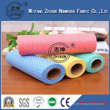 Tissu non-tissé de Spunlace de modèle de vague imprégnée pour le nettoyage