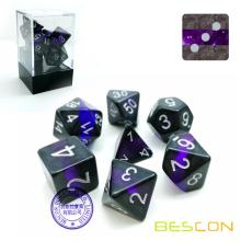 Bescon Mineral Rocks GEM VINES Polyédric D & D Dice Set de 7, RPG Role Playing Game Dice 7pcs Ensemble d'AMETHYST