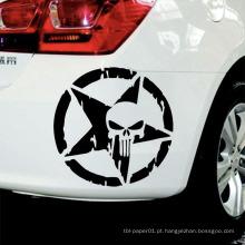 Tamanho 13Cmx13Cm Punisher Crânio Cabeça Car Styling Custom Car Body Sticker Paper