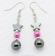 hematite pearl earrings