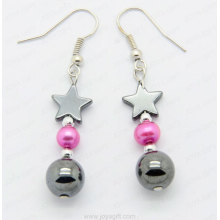 hematite pearl earrings