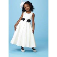 A-line Round Neck Ankle-length Satin Bow Belt Flower Girl Dress