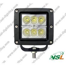 Square 6PCS * 3W CREE 18W LED fora de estrada farol de nevoeiro para 4X4, ATV, Barco, SUV