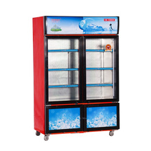 Porta de vidro duplo deslizante vertical 868L Exibição de temperatura dupla