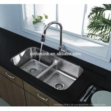 32 polegadas American cUPC aço Inoxidável Undermount Low Divider Kitchen Sink com dupla tigela