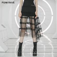 Irregular lotus leaf skirt OPQ-767BQF punk gothic black lace skirt sexy black skirt