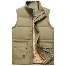 Men's winter warm lamb velvet lining sleeveless jacket outdoor padded down gilet