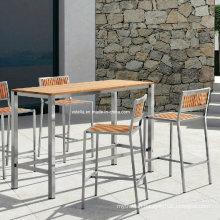 Patio Teak Stainless Steel Outdoor Bar Set