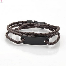 Wholesale Stainless Steel Snap Hook Clasp Leather Wrap Bracelet