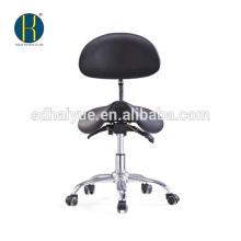 taburete de dentista de cuero sintético negro de alta calidad con asiento basculante