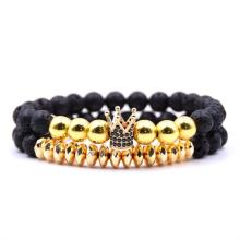 8MM Lava Stone Beads Alloy Crown Charm Bracelets
