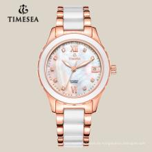 Reloj de pulsera de cerámica y acero del reloj del reloj de cuarzo blanco de la moda del OEM 71004